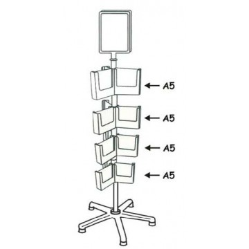 TRC4-2CA160 - 4 Tiers Carousel Stand 30 Pockets DL + A5