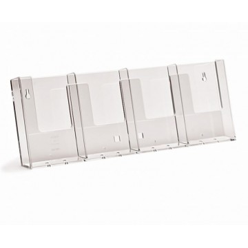4W104 - 4 Compartment Wall Mount Brochure Holder DL